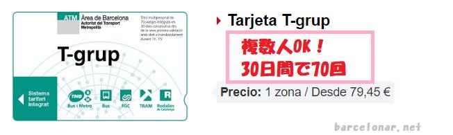 バルセロナのメトロ切符・T10に代わる回数券Tgrpグルポ・グループ